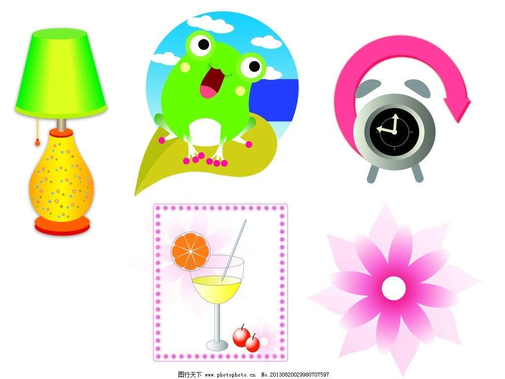 可爱动物 可爱青蛙 闹钟 台灯 花朵 杯子 橙子 樱桃 蓝天白云 名片