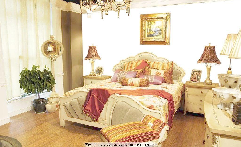 欧式卧室 抠图 床 家具 金碧辉煌 室内设计 台灯 抠图素材下载