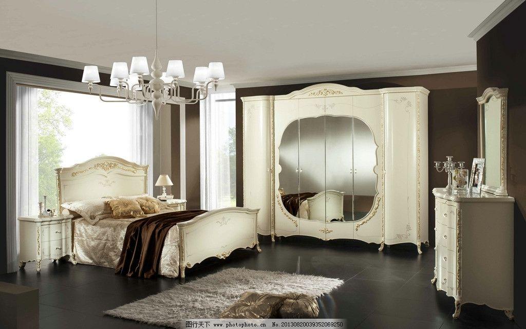 欧式卧室 双人床 大衣厨 衣柜 衣橱 镜子 梳妆镜 地毯 大床 吊灯 贵族