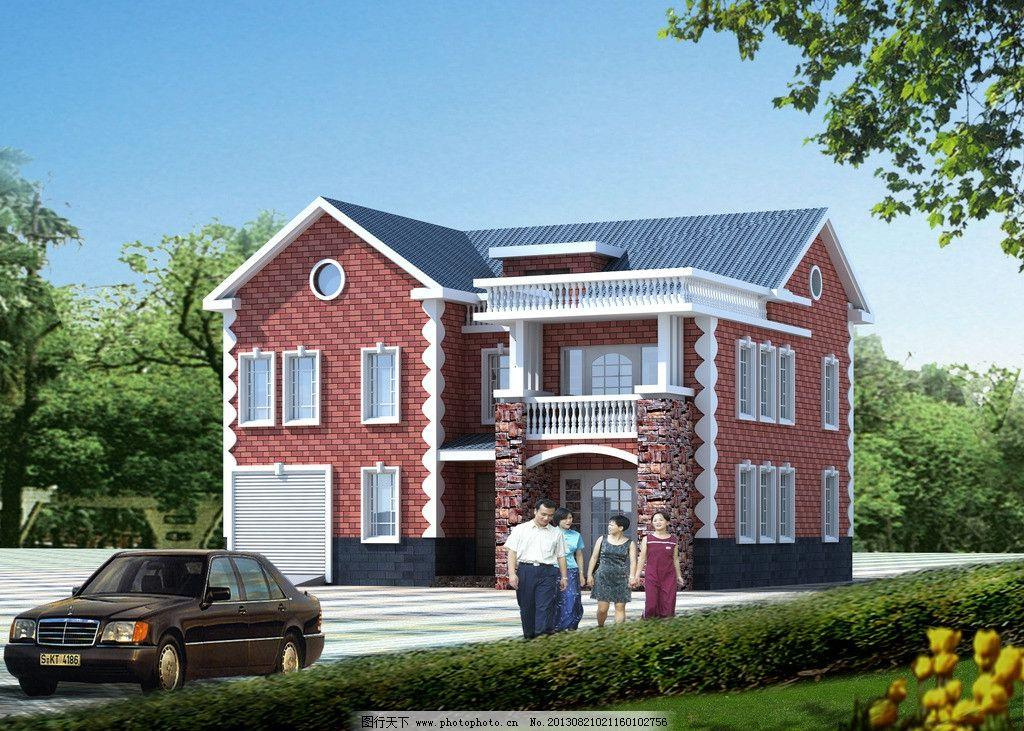 自建房效果图 建筑 花园 人物 汽车 自建房建筑效果图 3d作品 3d设计
