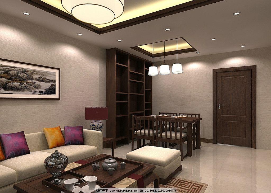 新中式风格客厅 家具 中国风 灯具 沙发 茶具 古典图片
