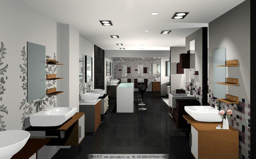 家居店装修效果图 桌子 凳子 鲜花 洗手池 水龙头 花纹墙壁 橱柜 吊灯