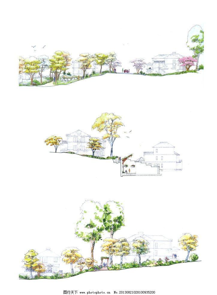 景观立面图 手绘 马克笔表现 效果图 树木