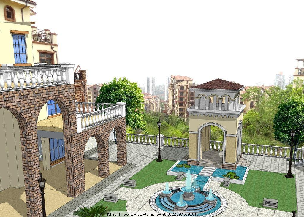 别墅花园 别墅 花园 欧式 亭子 喷泉 园林设计 环境设计 源文件 72dpi
