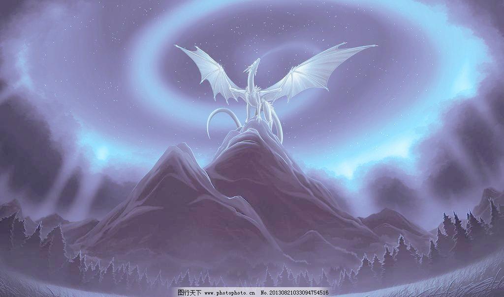 手绘龙 山峰 龙 翅膀 恶龙 手绘 艺术 绘画 dragon 高清壁纸 其他