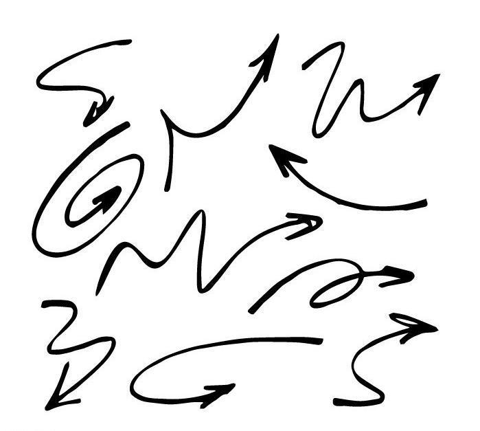 弯曲手画箭头 弯曲 手画箭头 背景 钢笔 手绘 矢量 其他 标识标志图标