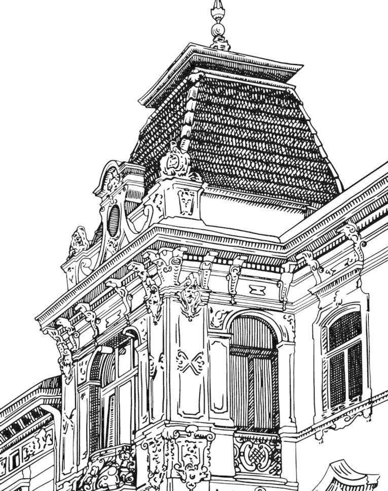 城市 都市 建筑 高楼 大厦 欧式建筑 建筑群 楼房 住宅 繁华 素描
