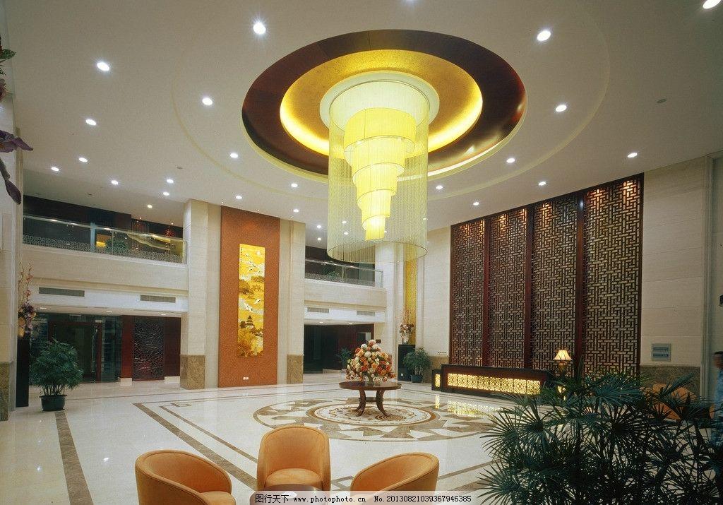 酒店大堂 大堂 大厅 酒店大厅 大理石拼花 吧台 服务台 中式花格 中式