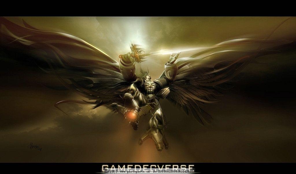 动漫人物 战士 天使 翅膀 手绘 艺术 绘画 数字绘画 动漫动画