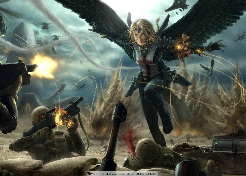 动漫人物 战场 战士 天使 翅膀 手绘 绘画 艺术 动漫动画