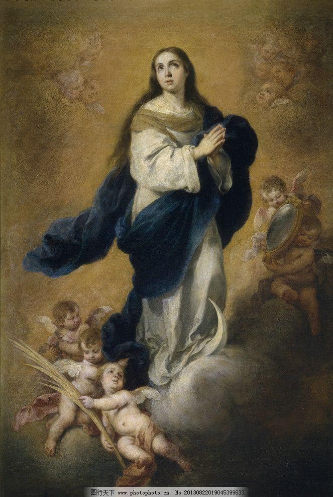 圣母颂小天使油画 欧式 圣母 小天使 油画 翅膀 绘画书法 文化艺术