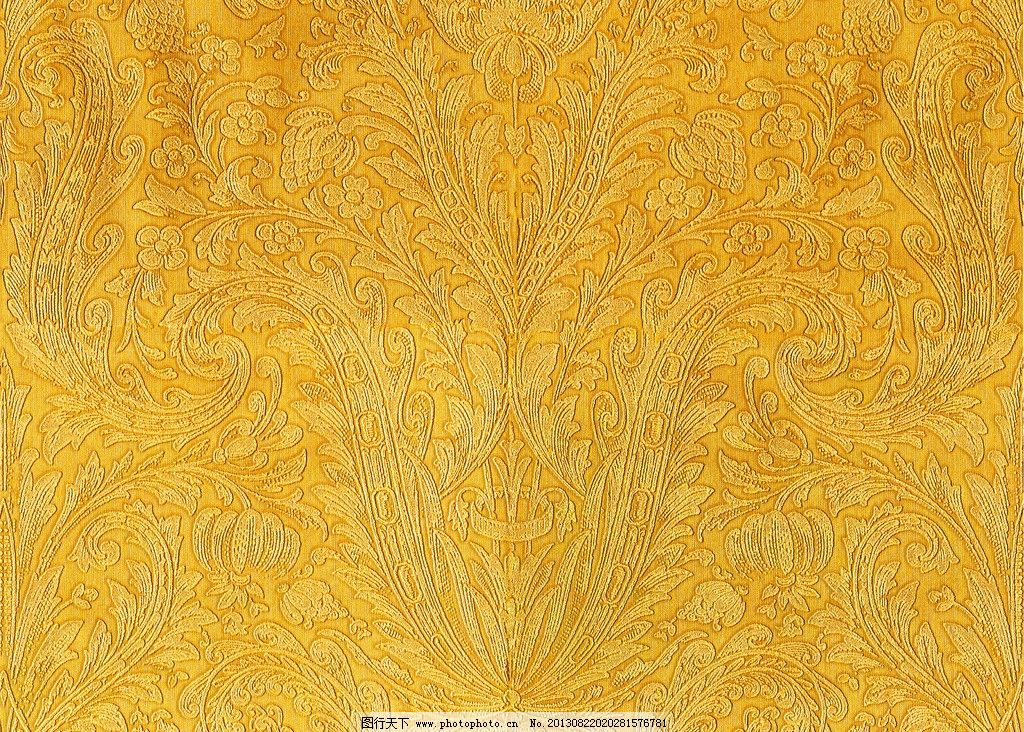 黄色花纹墙纸 壁纸 欧式 高清 图案背景底纹 室内 墙壁