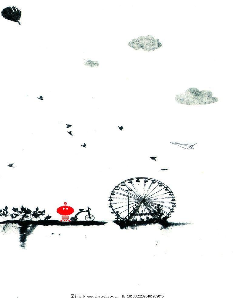 黑白风景 无框画 黑白画 装饰画 创意画 手绘 环境设计 设计 72dpi