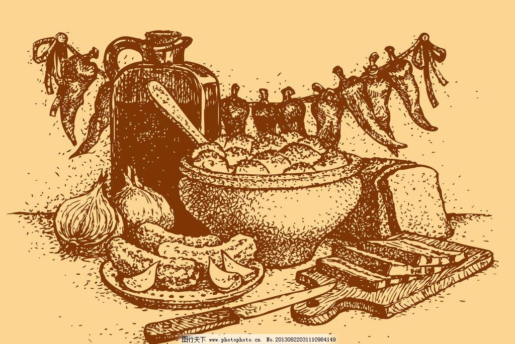 手绘食物 手绘美食 线稿 插画 速写 面包 素描 辣椒 西餐 矢量素材图片