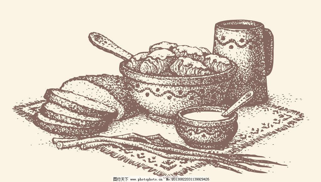 手绘食物 手绘美食 米饭 线稿 插画 速写 素描 矢量素材 餐饮美食