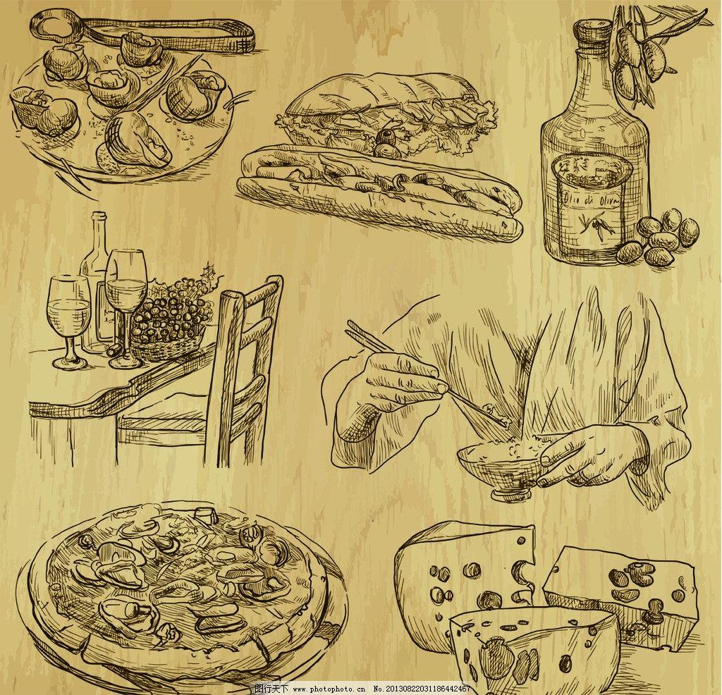 设计图库 淘宝电商 装修模板  手绘美食 手绘食物 手绘 线稿 插画