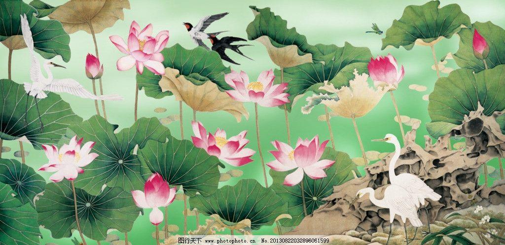 花鸟画 工笔荷花 工笔画 漂亮荷花 水墨荷花 燕子 花鸟图 仙鹤 富贵