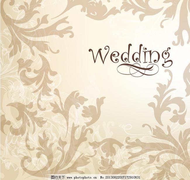 婚礼背景模板下载 婚礼背景 婚礼请柬背景 婚礼 欧式花纹 树叶 婚庆