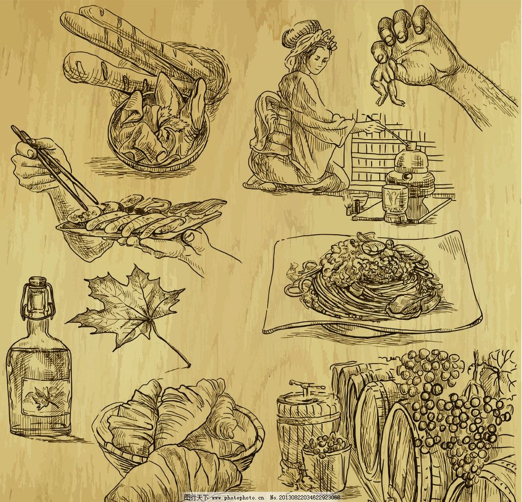 手绘食物 手绘美食 啤酒 线稿 插画 速写 素描 咖啡厅 西餐