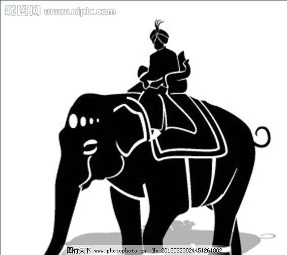 大象 剪纸 人物 骑大象的人 商人 伊斯兰 清真 战象 圣象 印度象 卡通