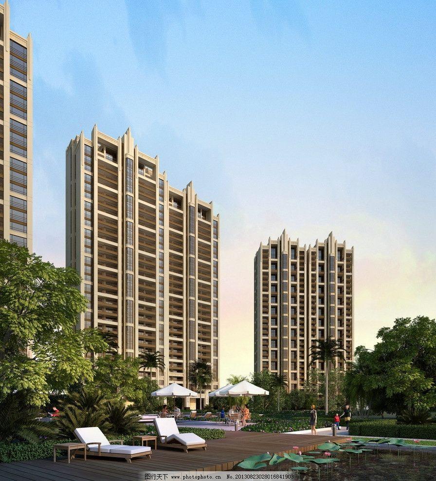 万科建筑效果图 万科 建筑 高层        欧式 荷花池 建筑设计 环境设