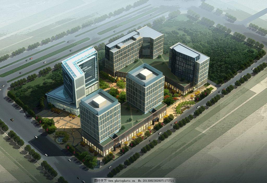 鸟瞰沿街建筑效果图图片