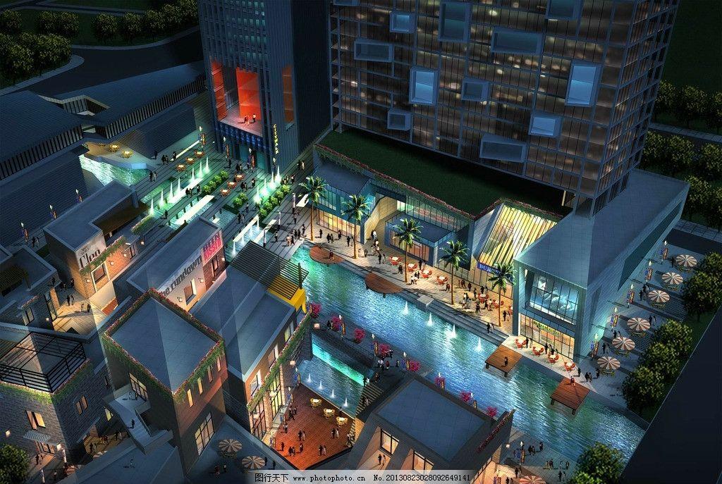 建筑夜景效果图        夜景 现代 商业 灯光 建筑 设计 建筑设计