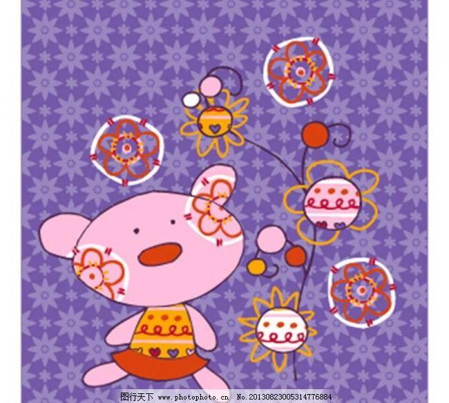 动漫 广告设计 小猪矢量素材 小猪模板下载 小猪 小动物 可爱 鲜花