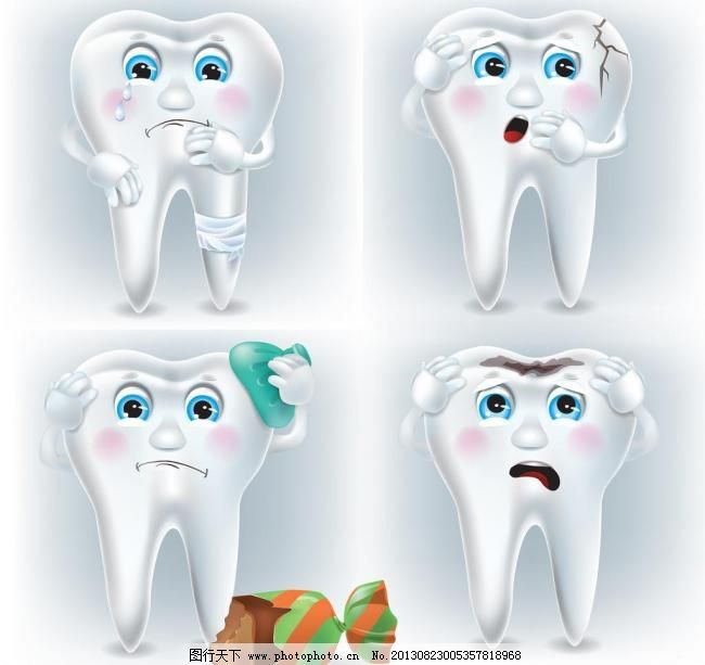 卡通牙齿 表情 笑脸图片