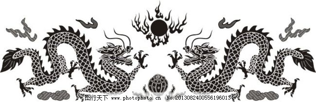 设计图库 动漫卡通 卡通动物  双龙戏珠矢量免费下载 传统花纹 古典