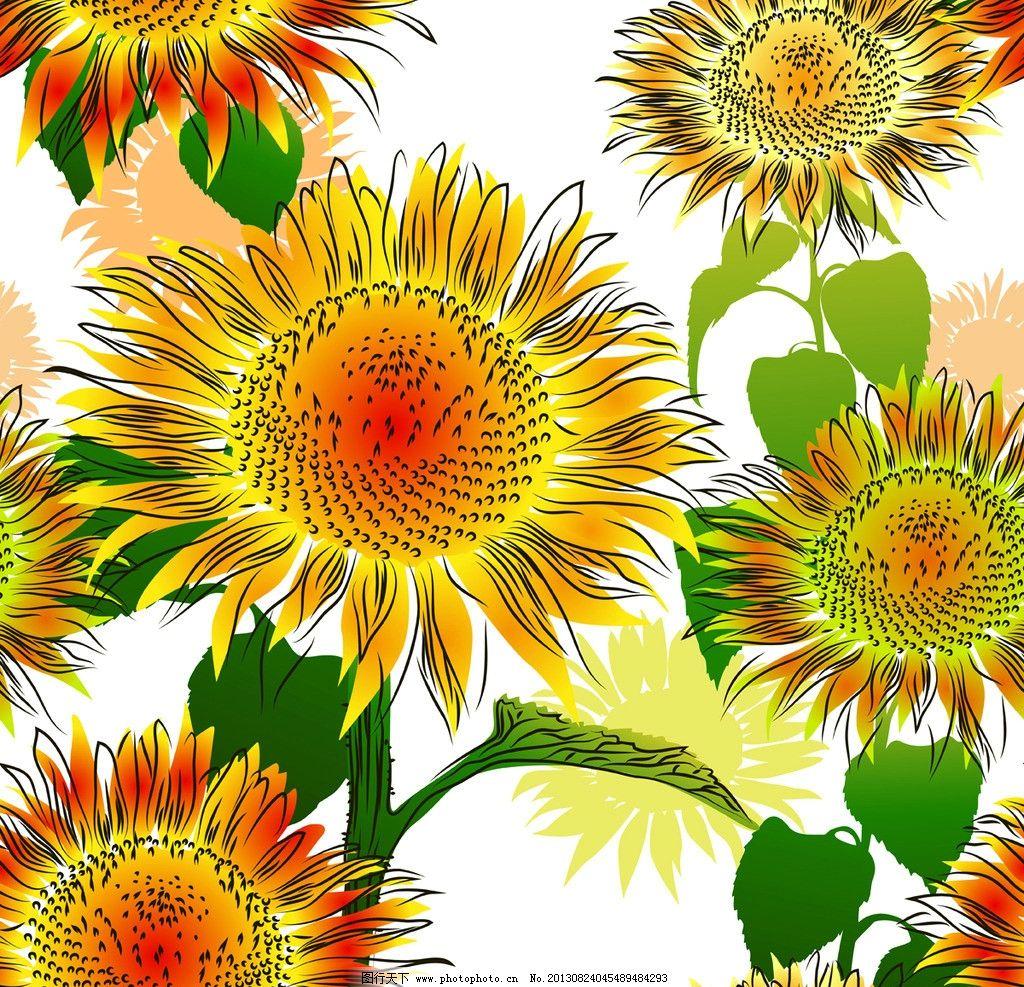 手绘向日葵 向日葵 环保 花卉 绿叶 生态 环保背景 矢量 花草背景