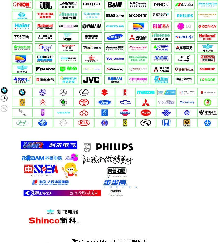 常用电器标志 电子标志 常用品牌 汽车标志 标识标志图标 矢量