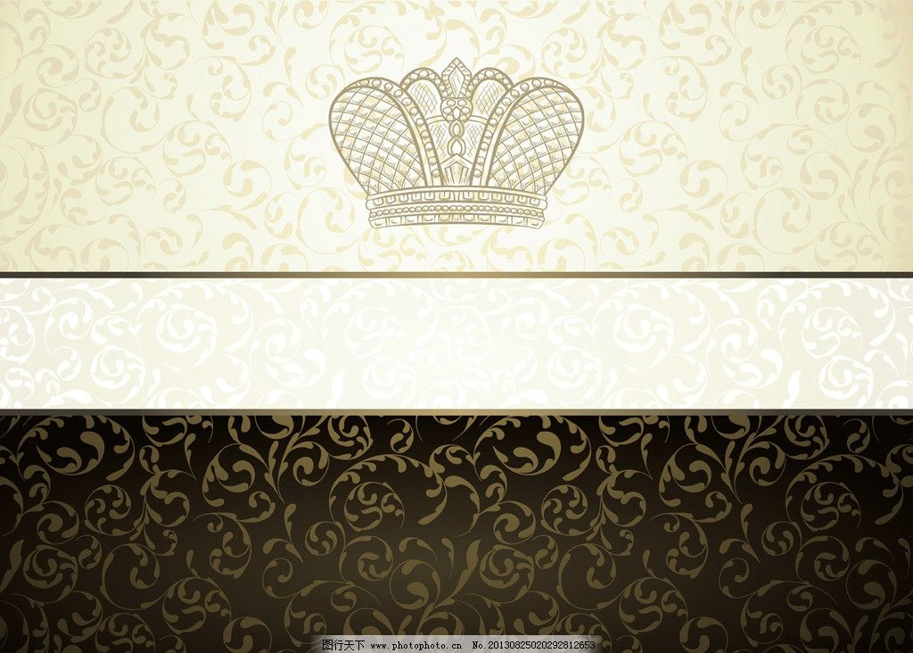 欧式花纹 古典 皇冠 花边 卡片 金色花纹 文本框 菜单 菜谱