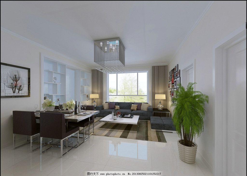 室内设计 现代 客厅 影视墙 壁纸 效果图 植物 沙发