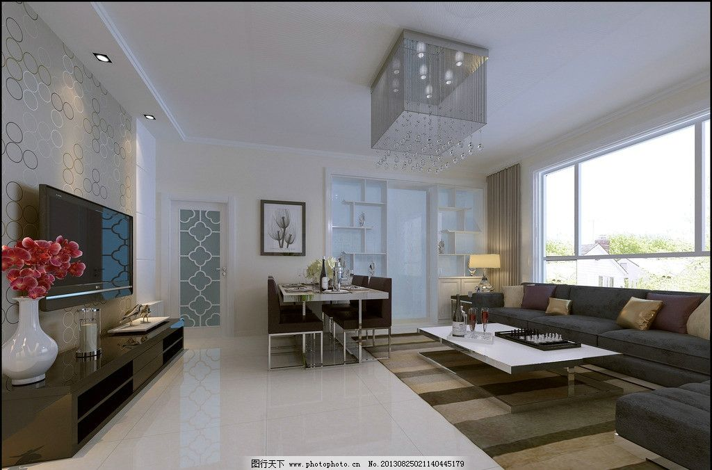 室内设计 现代 客厅 影视墙 壁纸 效果图 沙发 窗户