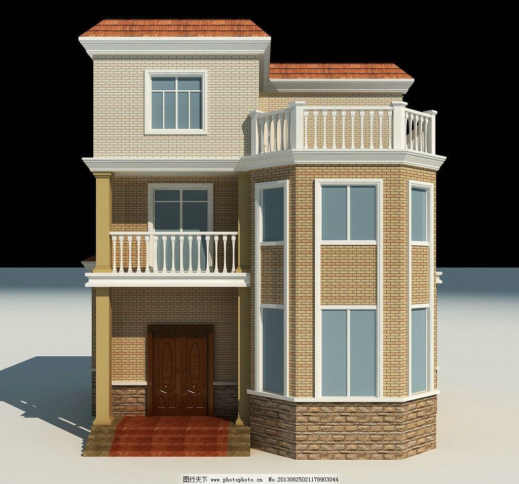 别墅外观 瓷砖 别墅正立面图效果图 窗户设计 栏杆扶手设计 3d作品 3d