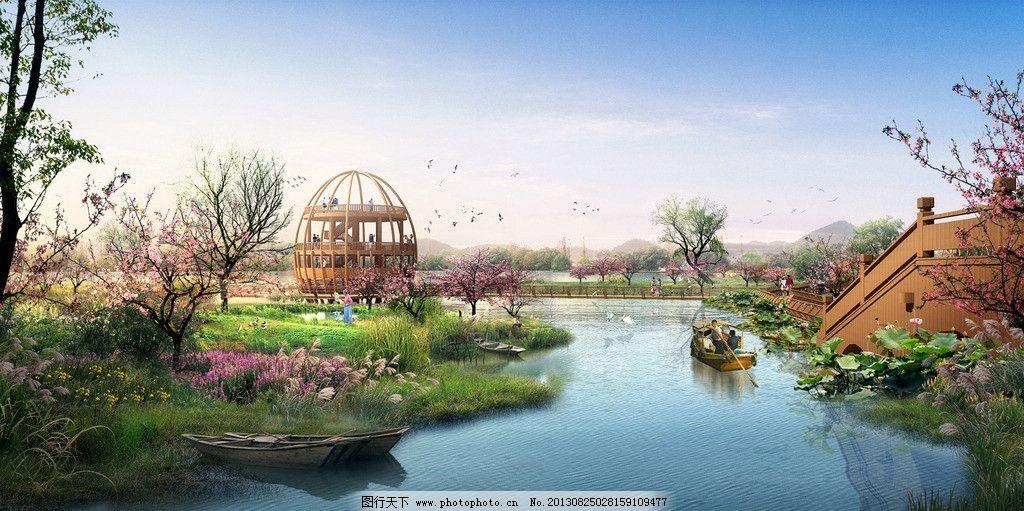 水景效果图 风景 房地产        透视 透视图 湖水 树木 花草 景观