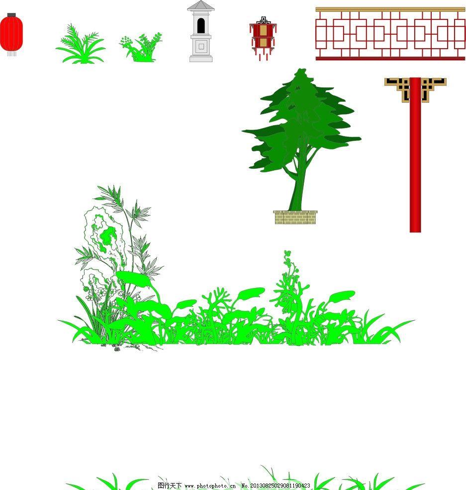 cdr景观立面图素材 草树 中式景观 灯笼 宫灯 中式护栏 建筑家居