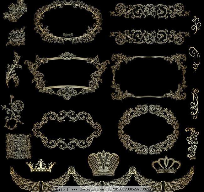 欧式花纹 欧式 古典 皇冠 花纹 花边 卡片 金色花纹 文本框 菜单 菜谱