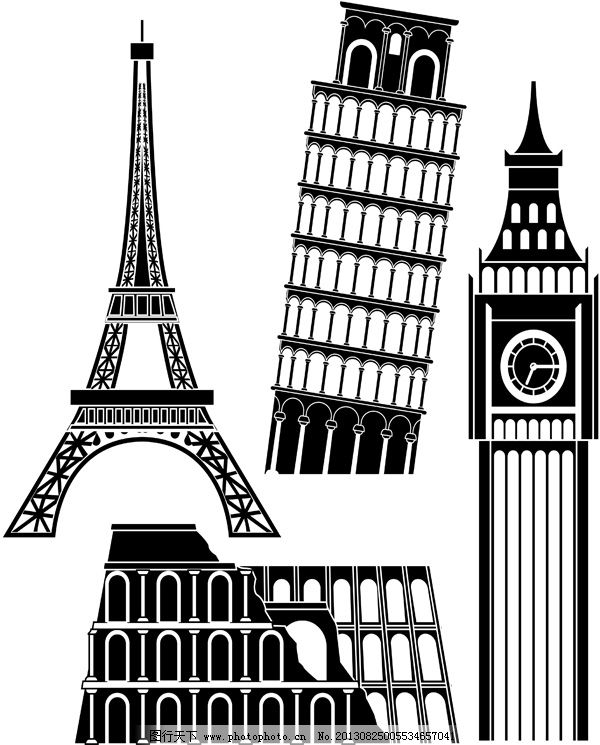 剪影免费下载 巴黎铁塔 大笨钟 剪影 建筑 剪影 巴黎铁塔 建筑 大笨钟