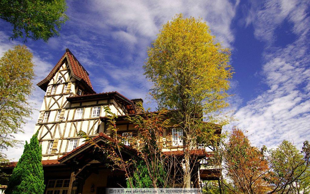 别墅树木美丽风景 树木 房屋 别墅 蓝天 白云 建筑摄影 建筑园林 摄影