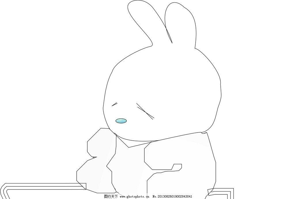 流氓兔 手绘图画 兔子 手绘 黑白流氓兔 小兔子 美术绘画 文化艺术 矢