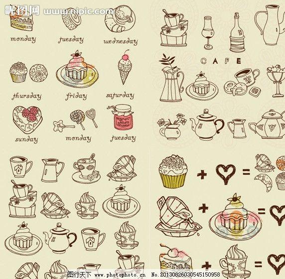 手绘线描咖啡点心图片