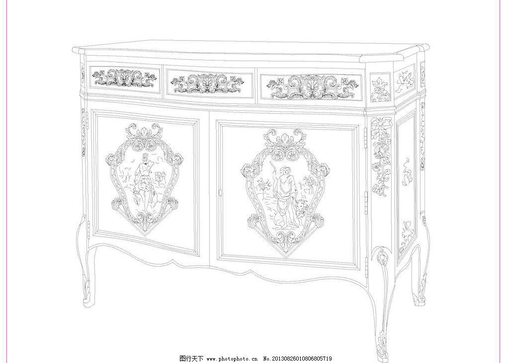 欧式 家具 线描 白描 线条 传统文化 文化艺术 矢量 cdr 家居装饰素材