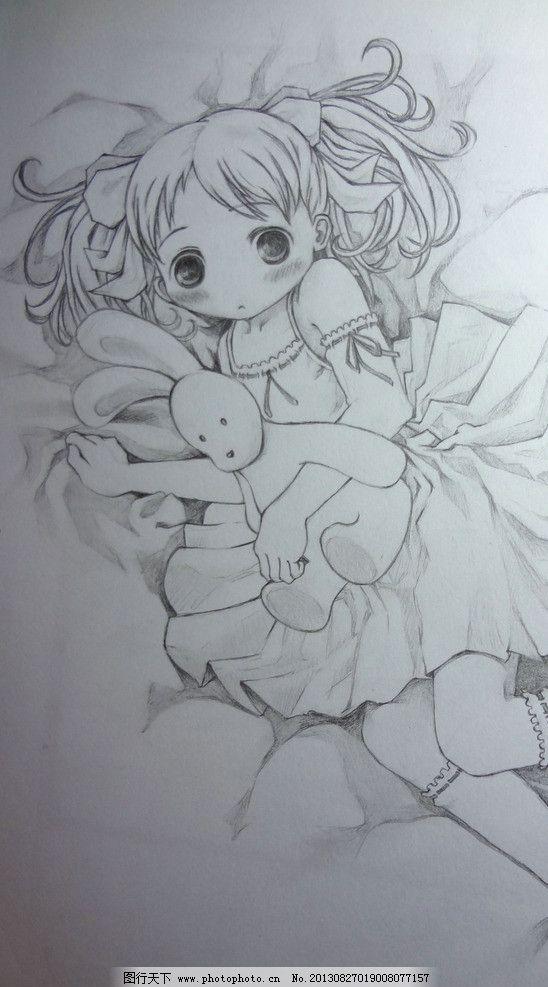 手绘卡通画 小萝莉 黑白画 素描画 手绘 卡通人物 绘画书法 文化艺术