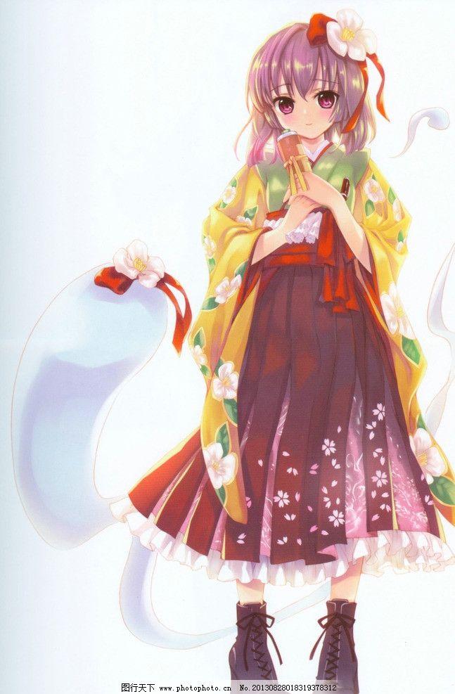 动漫人物 动漫 女孩 花朵 和服 长裙 萝莉 卡通 动漫游戏 动漫动画 设