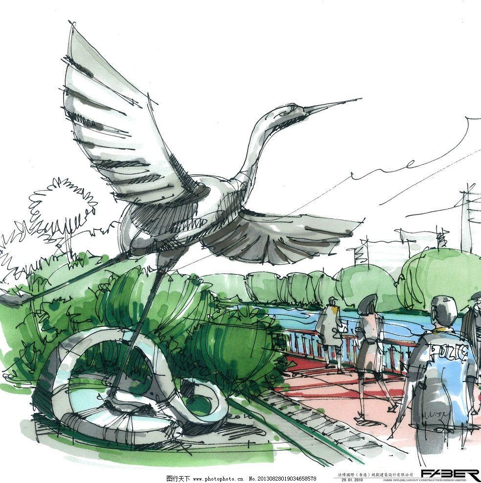 手绘建筑 手绘 建筑 飞鸟 雕塑 水彩画 环境设计 建筑设计 树木 文化