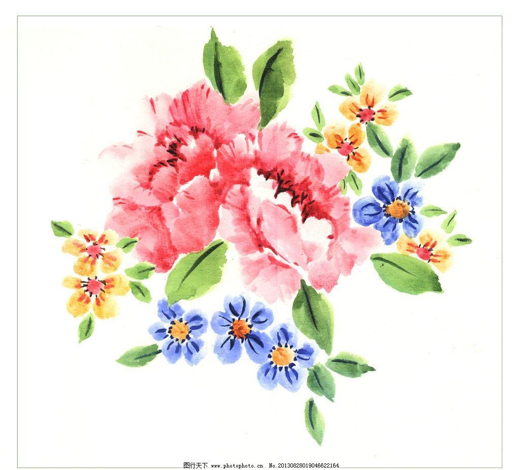 原创水彩花卉 原创 水彩画 红色 牡丹花 花朵 花纹 花卉 原创水彩画