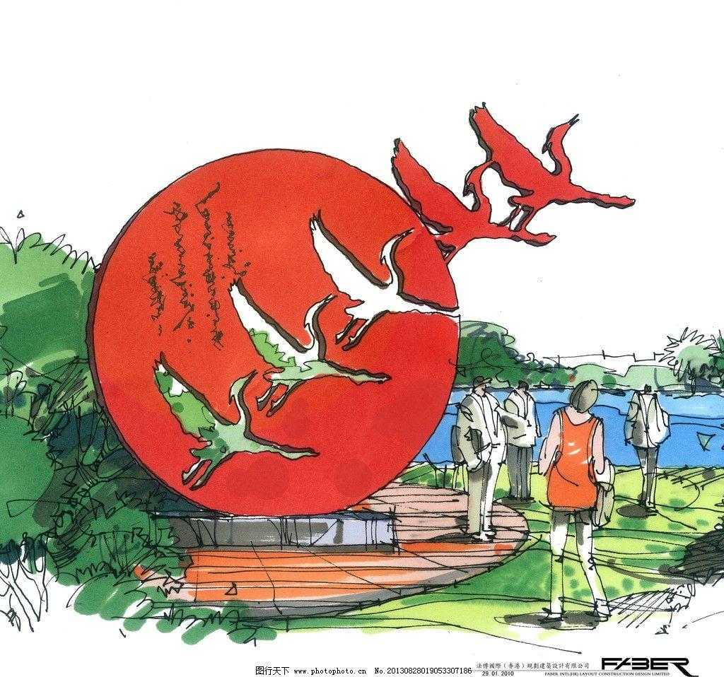 手绘雕塑 人物 手绘 雕塑 水彩画 环境设计 建筑设计 树木 绘画 文化