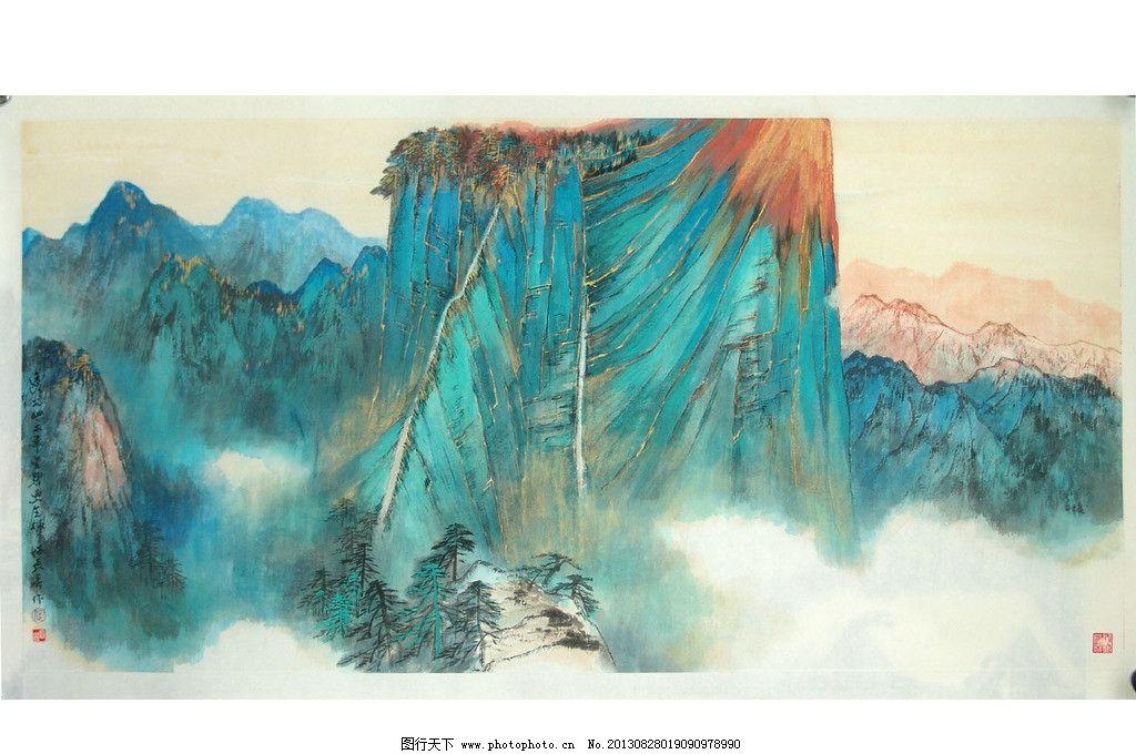 张大千金碧山水画图片图片